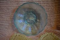 "Northwood Peacock Carnival Glass Ice Blue Iridescent Scalloped Bowl 5.5"" Dia(#1)"