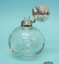 English Sterling Silver Mounted Clear Glass Swan Vanity Perfume Scent Bottle