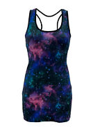 Blue Purple Galaxy Cosmos Stars Planets Print Long Vest Top Bodycon Rave