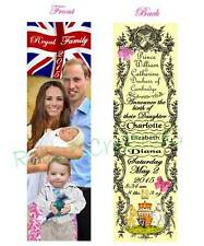 PRINCESS CHARLOTTE KATE & Prince WILLIAM BOOKMARK-Baby Girl Birth Announcement
