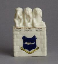 CRESTED WARE Newquay THREE WISE MONKEYS Speak/See/Hear No Evil HARTNOLLS LIBRARY