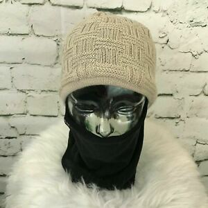 Seirus One Sz Hat Beige Wool Blend Beanie W/ Attached Black Face Cover
