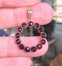 Antique Victorian Garnet Circle Pendant Necklace
