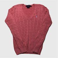 Womens Ralph Lauren Sport Cable Knit Jumper Small Pink V Neck