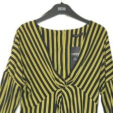 M&S Marks s8 Limited Luxe Navy Blue Mix Striped Knot Front Long Blouse Top BNWT