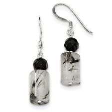 Sterling Silver Black Crystal & Tourmalinated Quartz Earrings