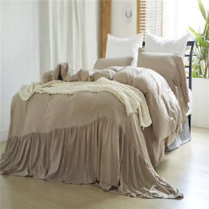 Washed Edge Ruffle Duvet Covers Quilt Sets with Pillow Case American Size Modern