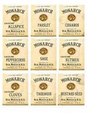 Primitive Vintage Monarch Spice Labels      #FH469