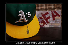 **GFA Oakland Athletics *MIGUEL TEJADA* Signed Fitted Hat M2 COA**
