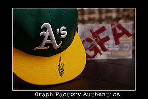 GFA Oakland Athletics MIGUEL TEJADA Signed Fitted Hat M2 COA