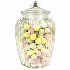 Large Clear Glass Ribbed Storage Jar 2200ml Kitchen Sweet Candy Food Container