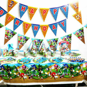 Sonic The Hedgehog Plate Cup Tablecloth Napkin Kids Birthday Party Decoration