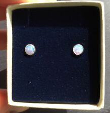 Beautiful Created Blue Fire Opal 5mm Sterling Silver 925 Earrings Gift Boxed