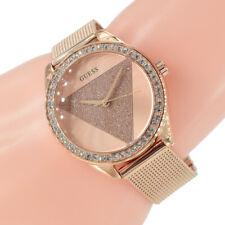 Guess Damen Uhr W1142L4 Tri Glitz Zirkonia Glitzer rose Milanaise Armband