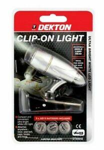 Dekton 1 LED Adjustable Clip-On Light With Batteries Workshop Books Maps NEW