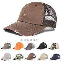 VOBOOM Vintage Distressed Mesh Trucker Baseball Cap Snapback Outdoor Sports Hat