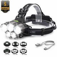 Hell 90000LM 5X T6 LED stirnlampe USB SCHEINWERFER KOPF FACKEL TASCHENLAMP Licht