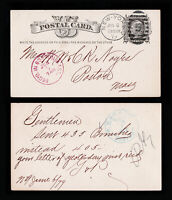 1879 POSTAL CARD SCOTT #UX5 USED PURPLE AND BLUE HANDSTAMPS 5 IN CIRCLE DUPLEX