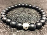 Onyx schwarz matt 925er sterling Silber Armband Bracelet Perlenarmband 8mm