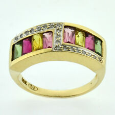 ESTATE 14K Gold 1.30tw Multi-Color Tourmaline & Diamond ZigZag Gem Cocktail Ring