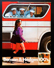 1971 Benson Hedges cigarettes ad mini skirt woman sailors advertisement ad art