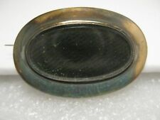Vintage 1800's Victorian Woven Hair Mourning Brooch, 14kt Gold and 10kt White G.