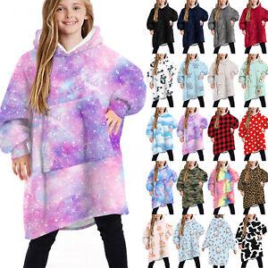Kids Unisex Printed Wearable Blanket Hooded Sweatshirt Oversized Fleece Hoodie