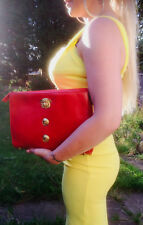 5f3c3e077e Gianni Versace extremely Rare large Red clutch medusa leather bag
