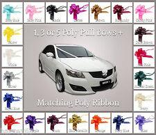 Wedding Car Decoration Kit 1, 3, or 5  Large 50mm Pull Bows & 6 Metres Ribbon