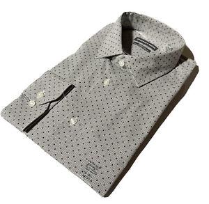 GEOFFREY BEENE Size L 16 - 16 1/2 34/35 Regular FIT Printed Shirt Rock Gray NWT