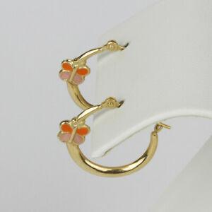 14k Yellow Gold Hoop Earrings with Pink and Orange Enamel Butterfly