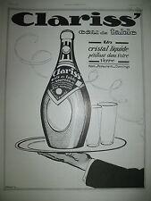 PUBLICITE DE PRESSE CLARISS' EAU DE TABLE GAZEUSE ILLUSTRATION FARCY AD 1924