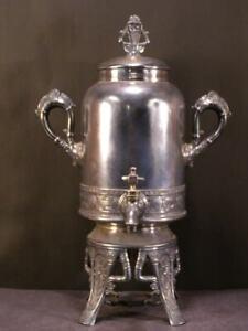 19 c Victorian Pairpoint Silver Tea Pot Hot Water Kettle Urn Coffee Samovar 1800