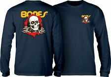 Powell Peralta Bones Ripper Long Sleeve Skateboard Shirt Navy Small