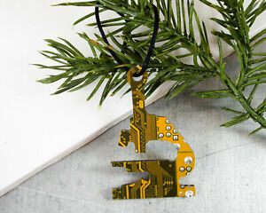 RECYCLED CIRCUIT BOARD Microscope Holiday Ornament Science Nerd STEAM STEM Gift
