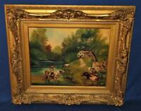 """Gesso Framed Art Oil on Canvas J Wessel, Country Bovine Cow Theme 30"""" x 26"""""""