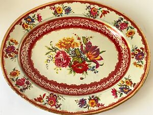 VINTAGE TIN PLATE ROSES NEVCO MADE IN SOUTH AFRICA