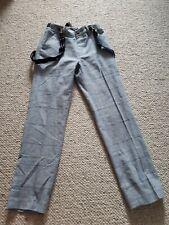 Boys Next blue Linen Trousers 6-7 with braces