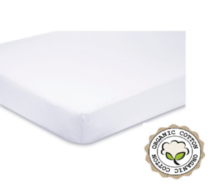 100% Organic Cotton - 2 x Soft Cot Bed Fitted Sheets - 140 / 70 cm - White