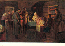 1955 Russian postcard PARTISANS VISIT WOUNDED HERO RIMA SHERSHNEVA