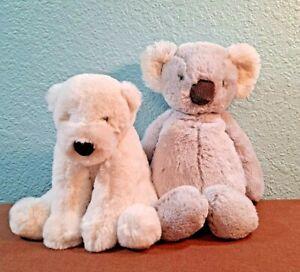 "2 Jellycat Gray Koala & Polar Bear Plush Stuffed Animal Small 8-10"" London"