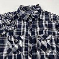Jachs Snap Button Shirt Men's XL Long Sleeve Navy White Plaid 100% Cotton Casual