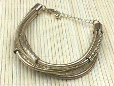 Fashion Bracelet Goldtone Spiedel & Twist Tube Multi Strand Metal