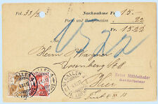 Switzerland 1913 Hug Advertising Postcard Cover from St. Gallen 164-65