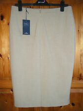 """M&S BEIGE PENCIL/ STRAIGHT LINED WITH SPLIT  SKIRT  SZ 16 LENGTH 24"""""""