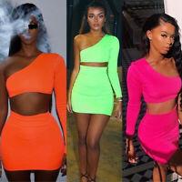 Fashion Women 2 Piece Bodycon Skirt Set Casual Clubwear Party Crop Top Dress