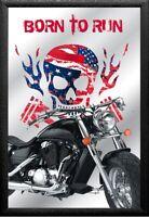 Calavera Rider Motocicletas Núm 5 Nostalgia Espejo de BAR 22 X 32CM