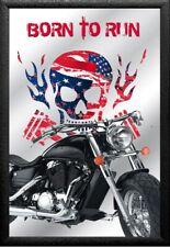 Skull Rider Motorcycles Nr. 5 Nostalgie Barspiegel Spiegel Bar Mirror 22 x 32 cm