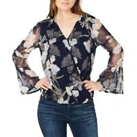 INC NEW Women's Blooming Iris Surplice Bell Sleeve Mesh Blouse Shirt Top TEDO
