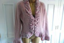Nougat luxury angora occasion cardigan with plush velvet dusky pink trim 14/16